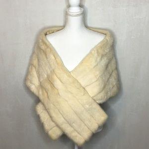 Vintage 1950s Evans White Mink Fur Stole/Cape/Shaw